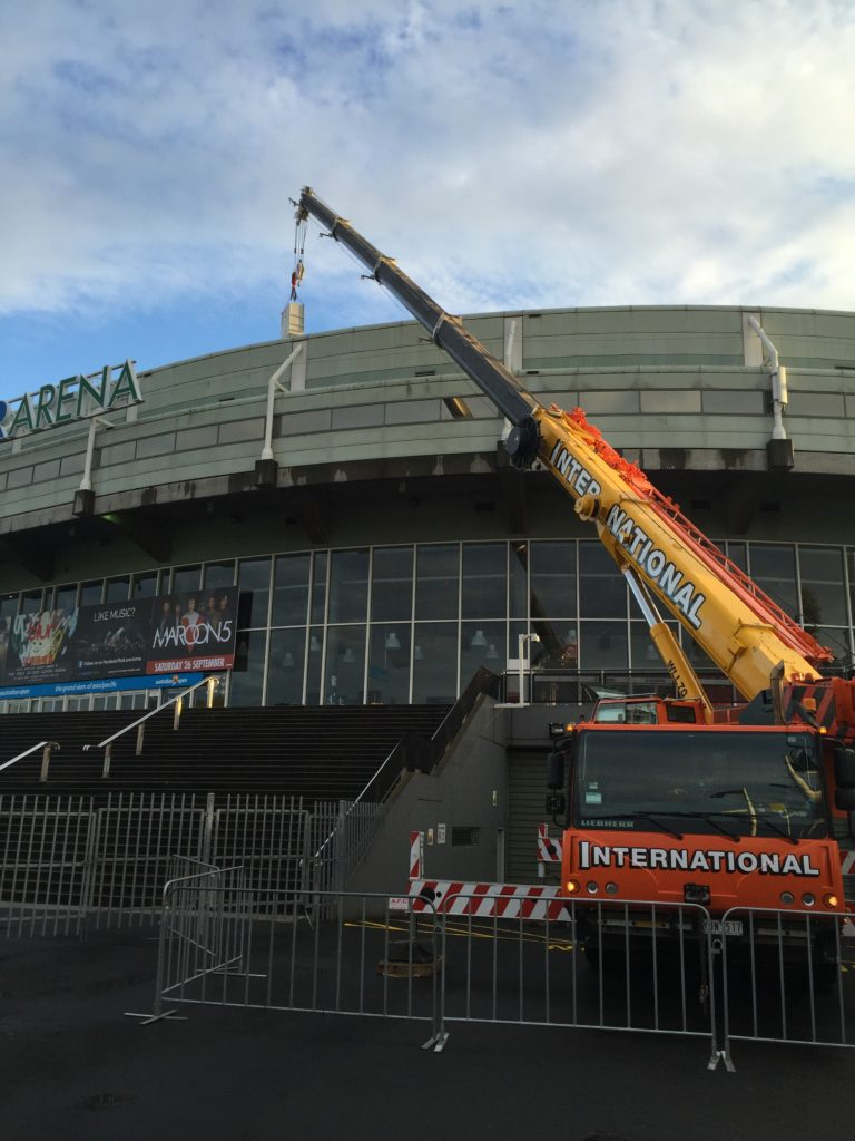 Crane performing Mechanical Upgrades on Rod Laver Arena